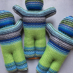 NEW Baby Shower Gift Knit Doll Striped Adorable
